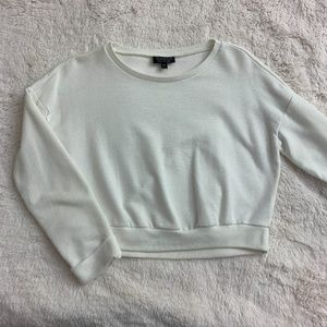 Topshop White Long Sleeve Crewneck Sweater Top